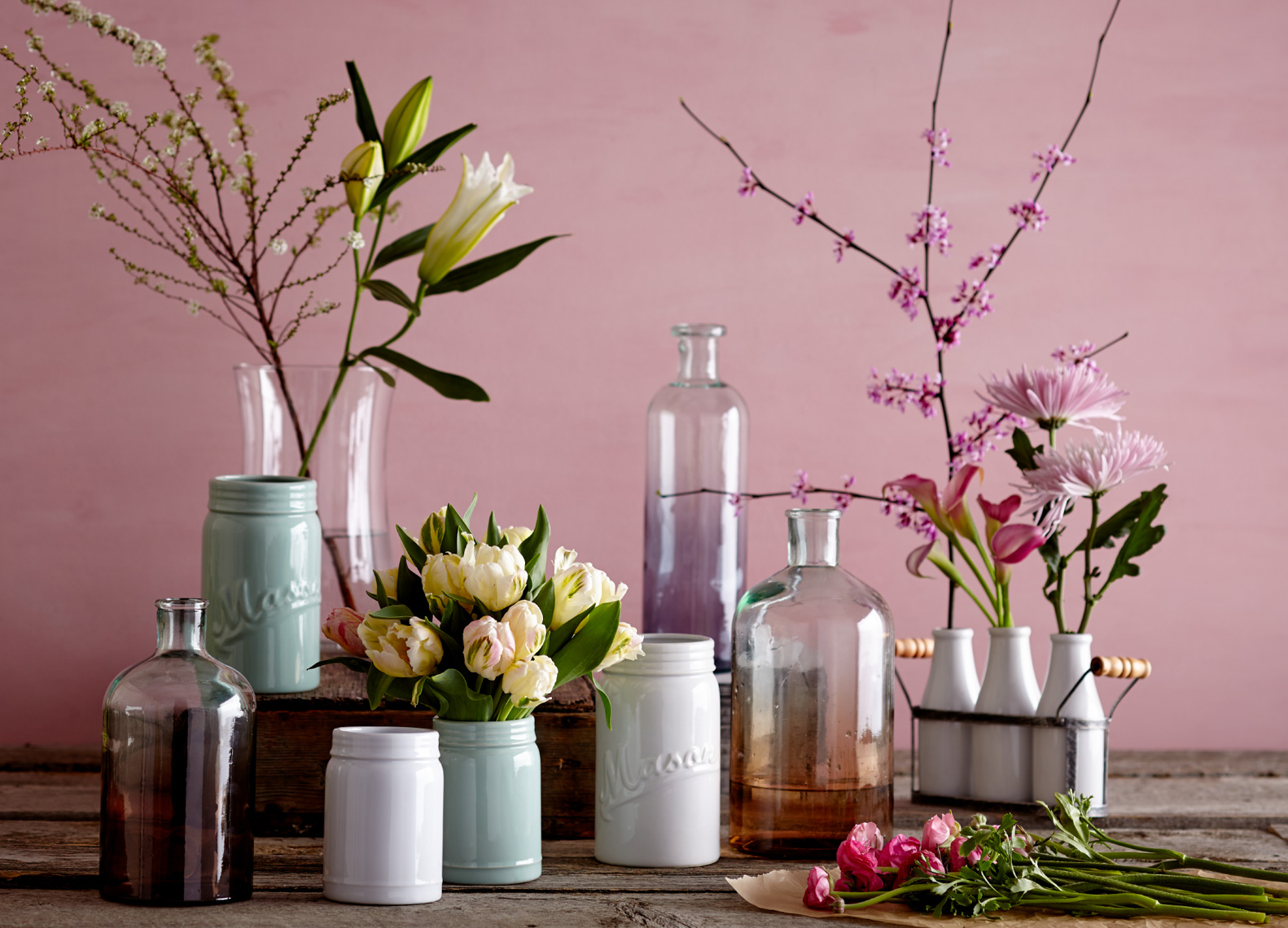 Glass vases and ceramic vases with flowers and branches hilip Harvey Photography, San Francisco, California, still life, interiors, food, lifestyle and product photography