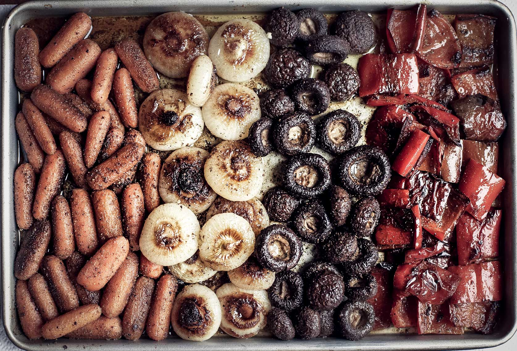 baking dish with assorted carrots and shallots and mushrooms and peppers San Francisco food photographer