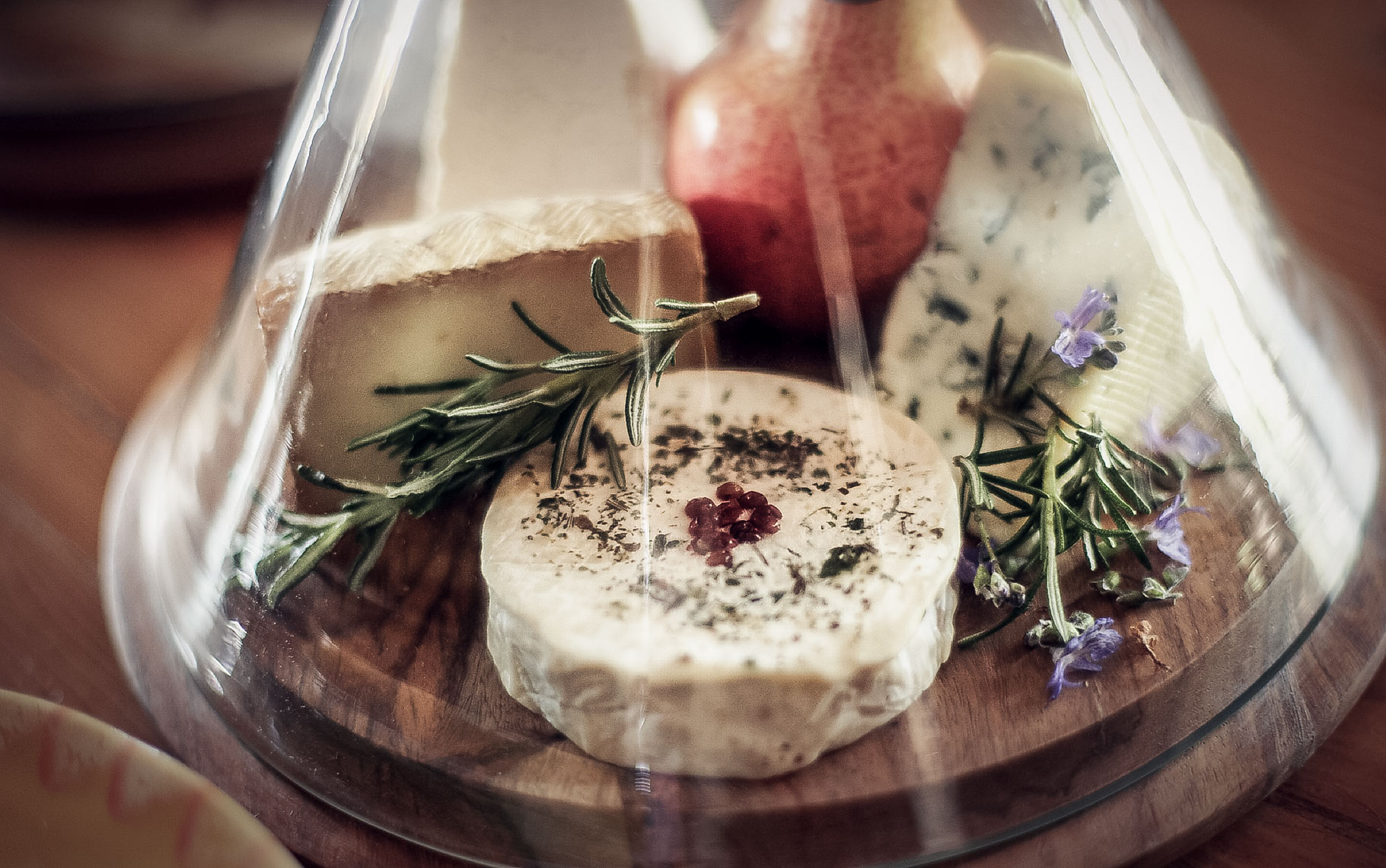 glass-encased collection of cheese with herbs
