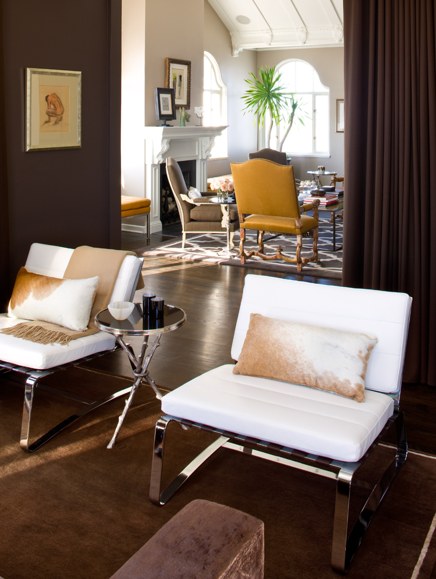 living room with 2 white chairs and dark wooden floor San Francisco interior photographer
