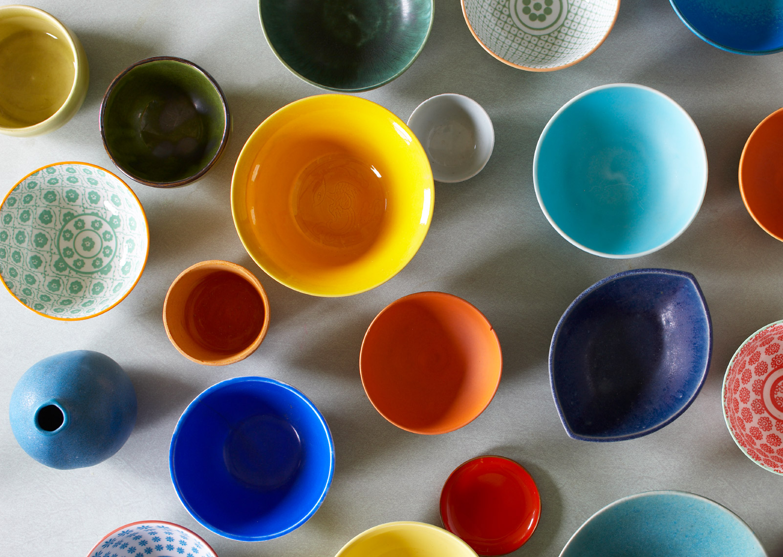 Bowls, colorful collection on floor hilip Harvey Photography, San Francisco, California, still life, interiors, food, lifestyle and product photography