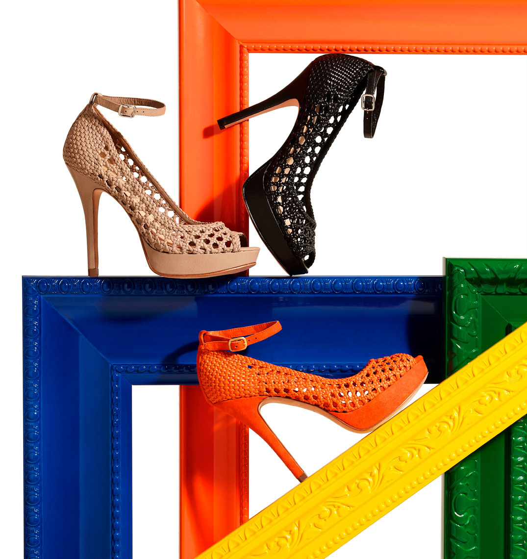 primary color photo frames with bright high heels on them San Francisco product photographer