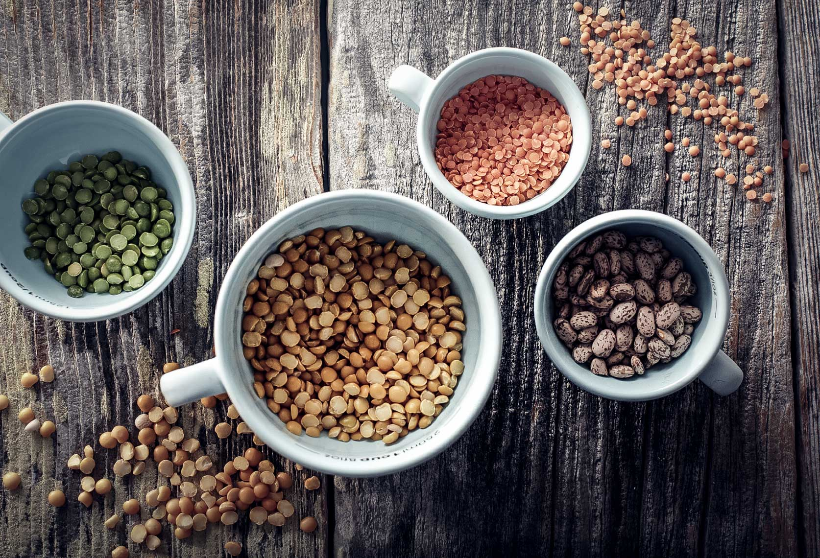white mugs with assortment of beans and seeds