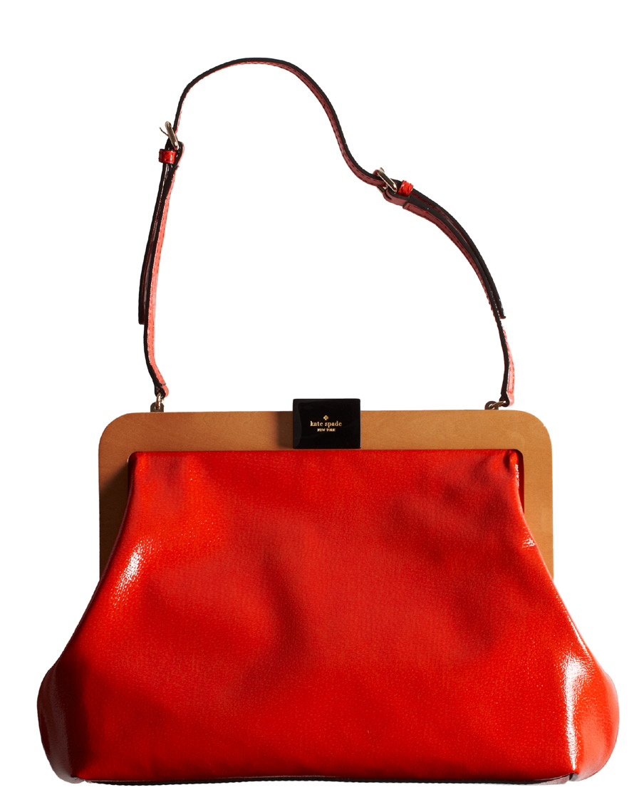 bright red handbag with brown leather strap San Francisco product photographer