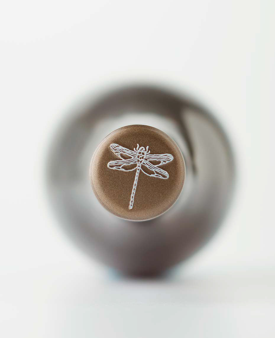 downward view of top wine bottle logo
