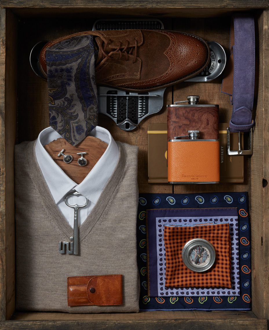 Sweater with shirt and accessories hilip Harvey Photography, San Francisco, California, still life, interiors, food, lifestyle and product photography