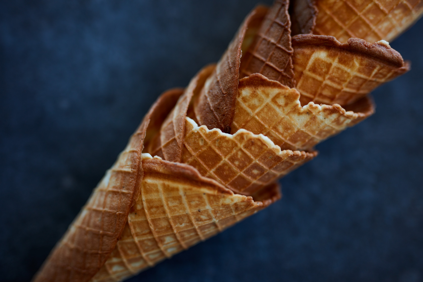 stacked waffle cones San Francisco food photographer