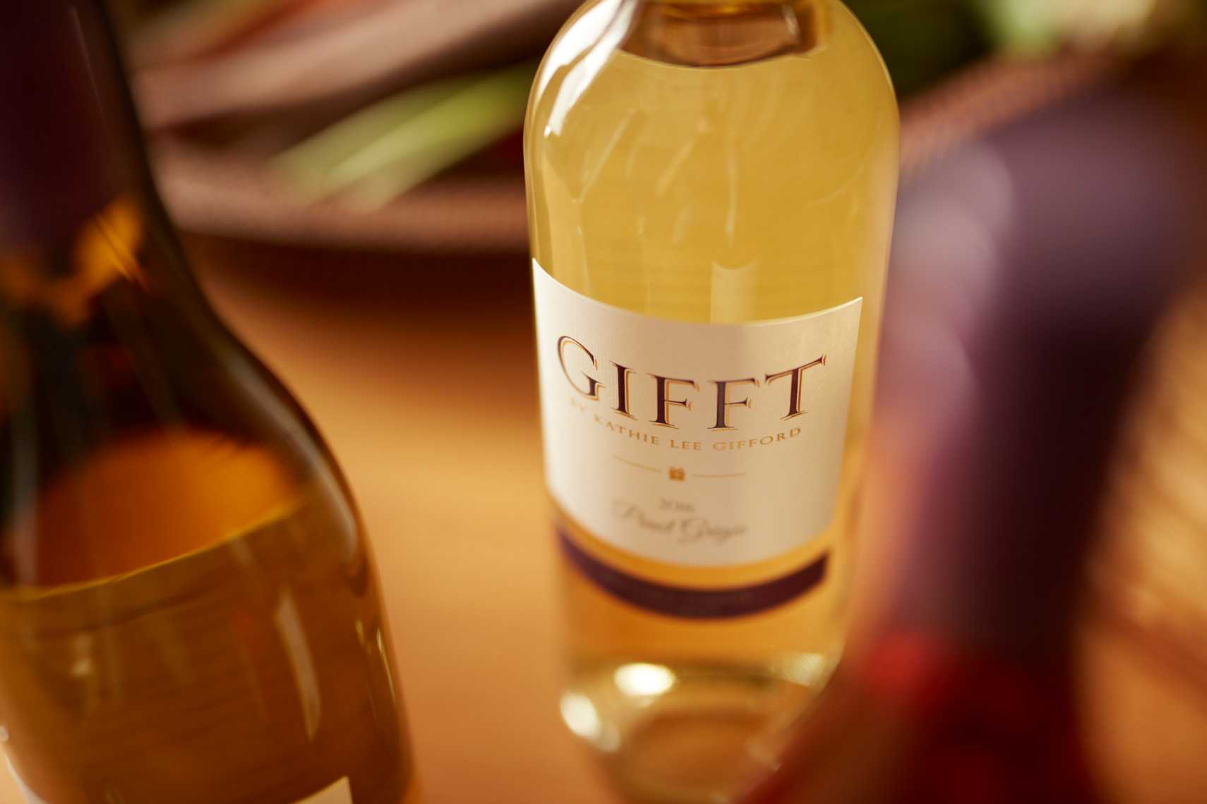 detail of white wine bottle San Francisco food photographer