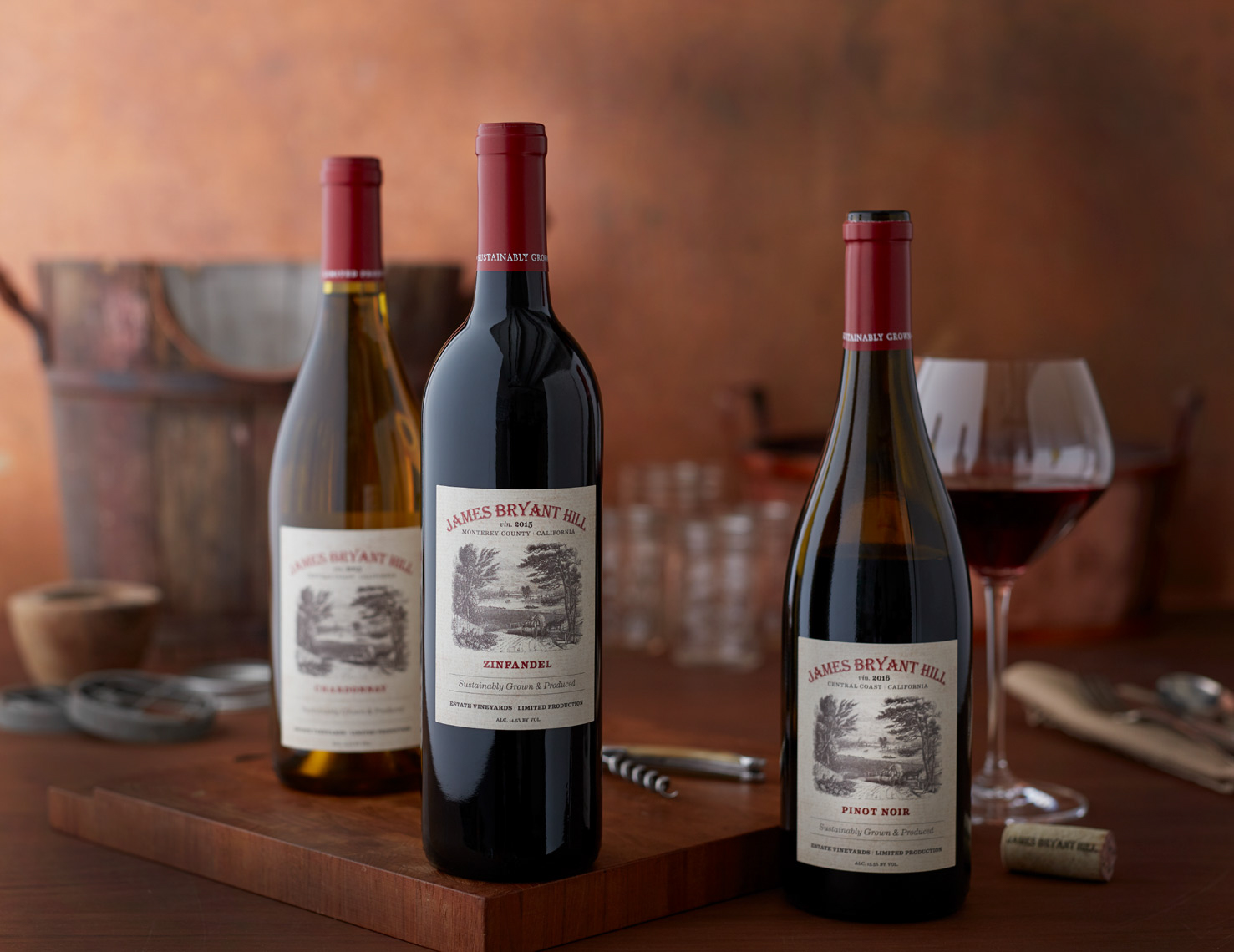 set of 3 bottles of wine with wine glass and corkscrew San Francisco food photographer