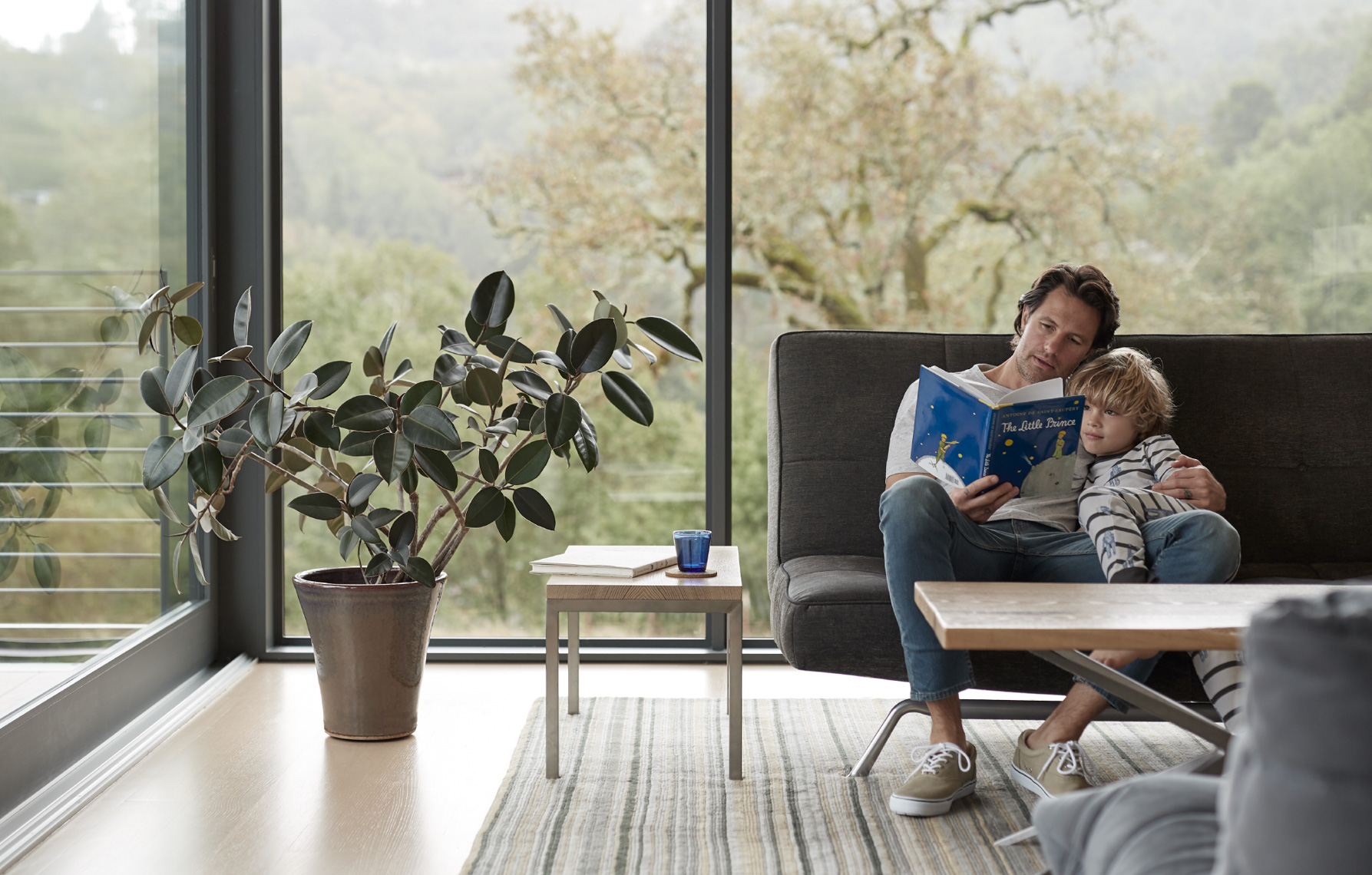 father reading The Little Prince to his child snuggling on sleek grey couch in living room  San Francisco lifestyle photographer