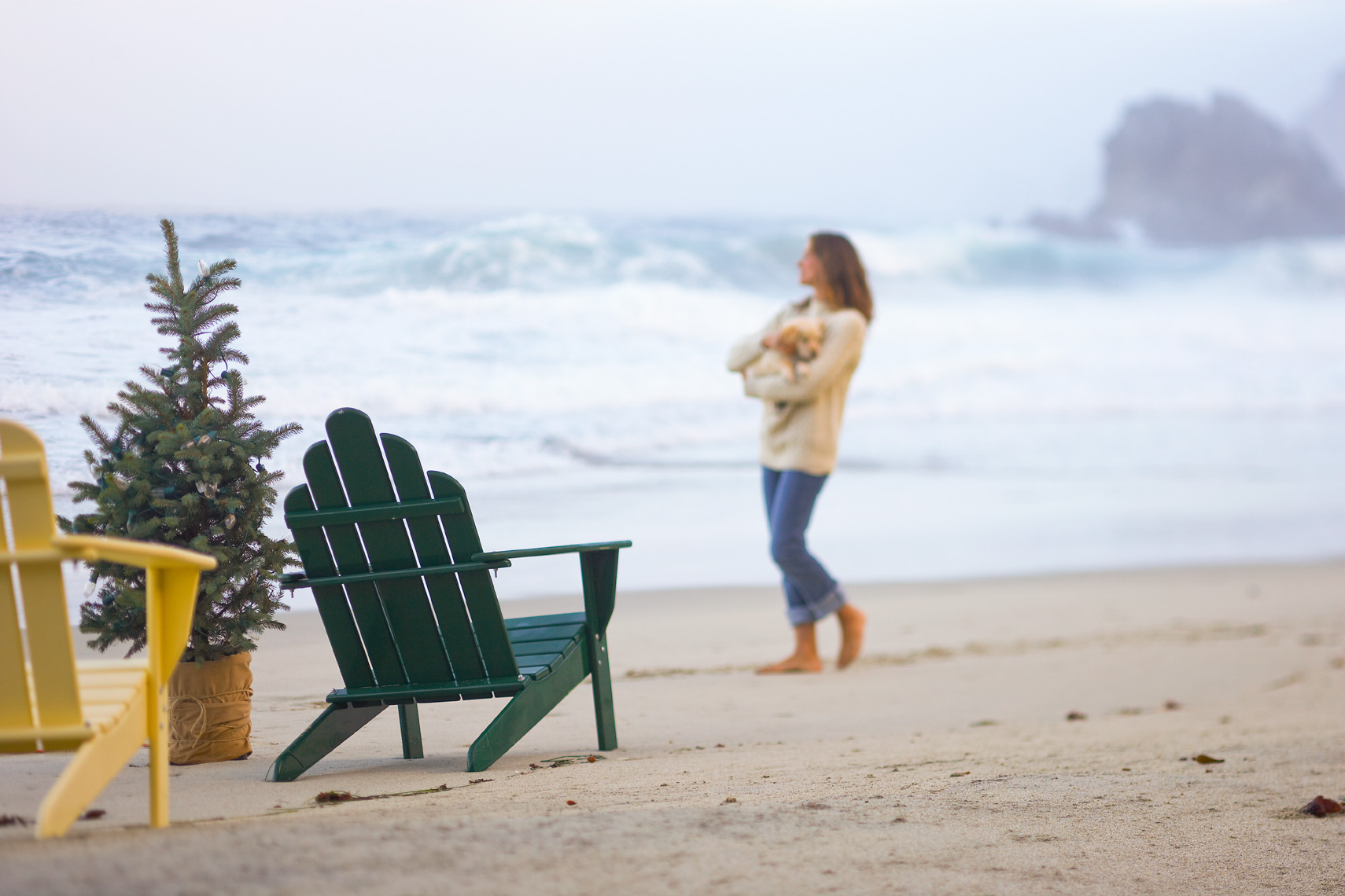 Woman with puppy at beach with adirondack chairs and holiday tree