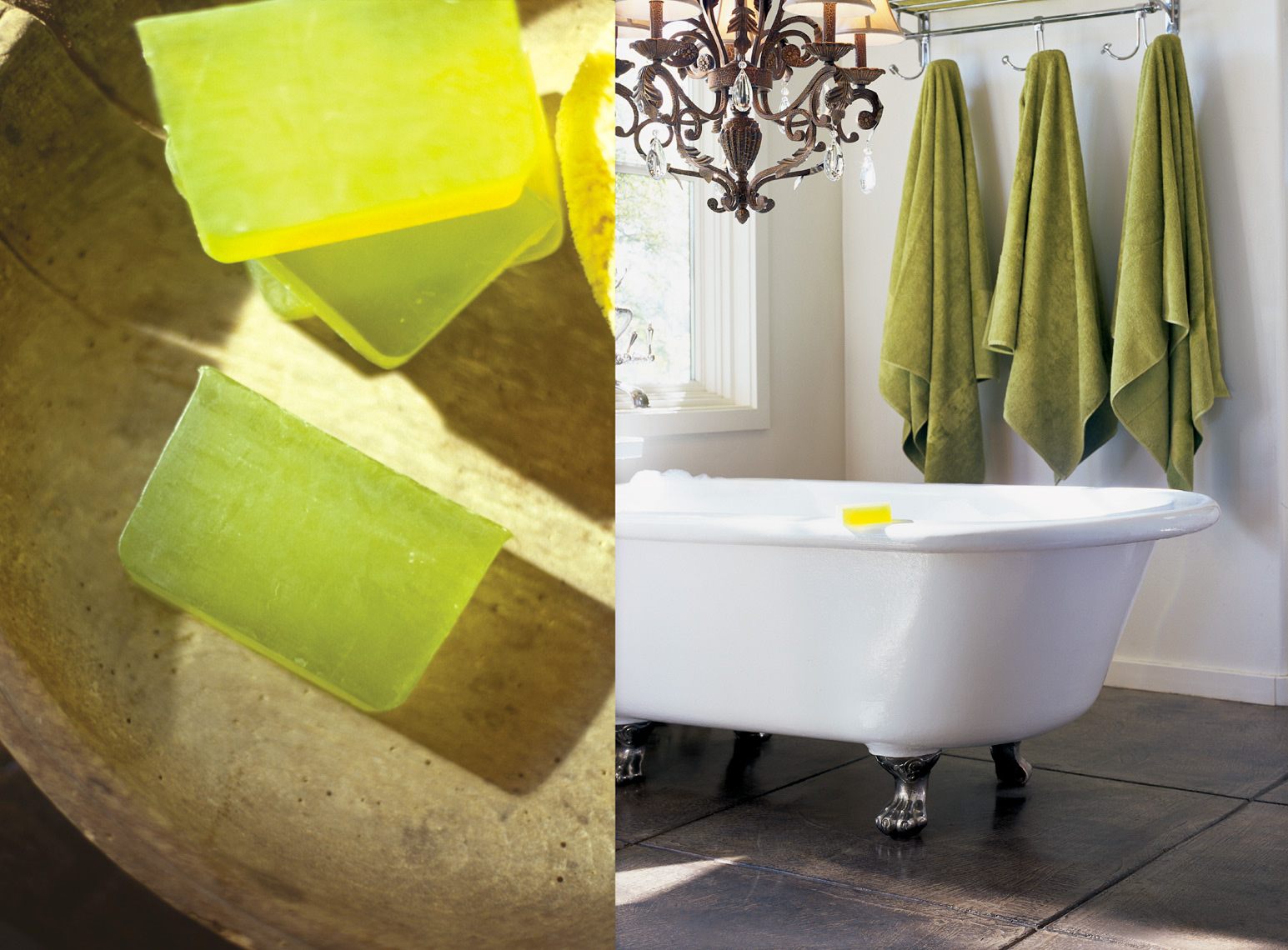 4 green bars of soap in wooden bowl next to white bathtub with 3 green towels San Francisco product photographer