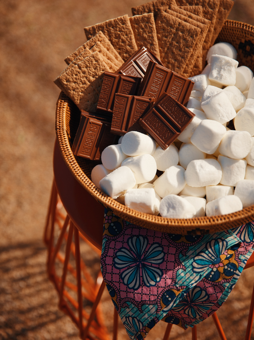 basket of chocolate and marshmallows and graham crackers in the sun San Francisco food photographer