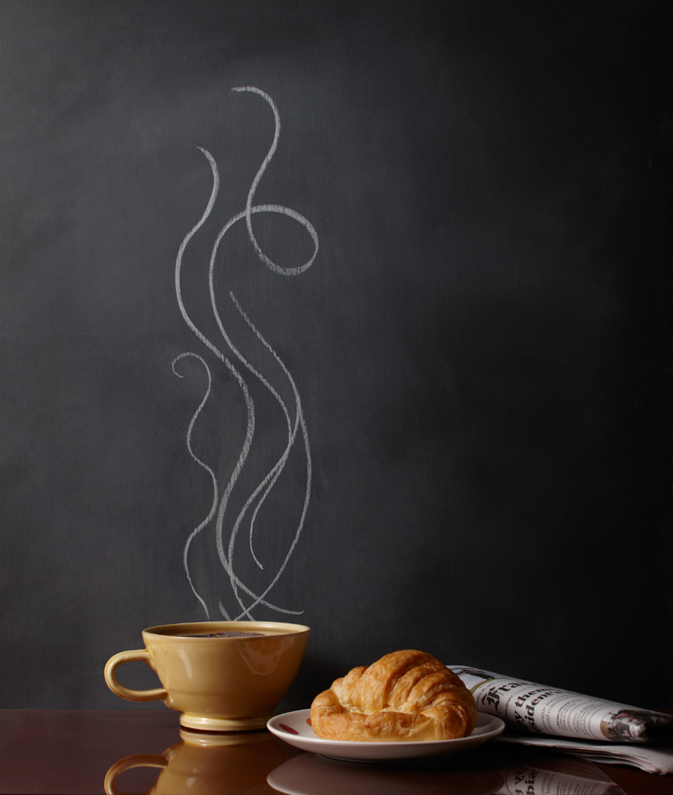 Cup of coffee and crescent hilip Harvey Photography, San Francisco, California, still life, interiors, food, lifestyle and product photography