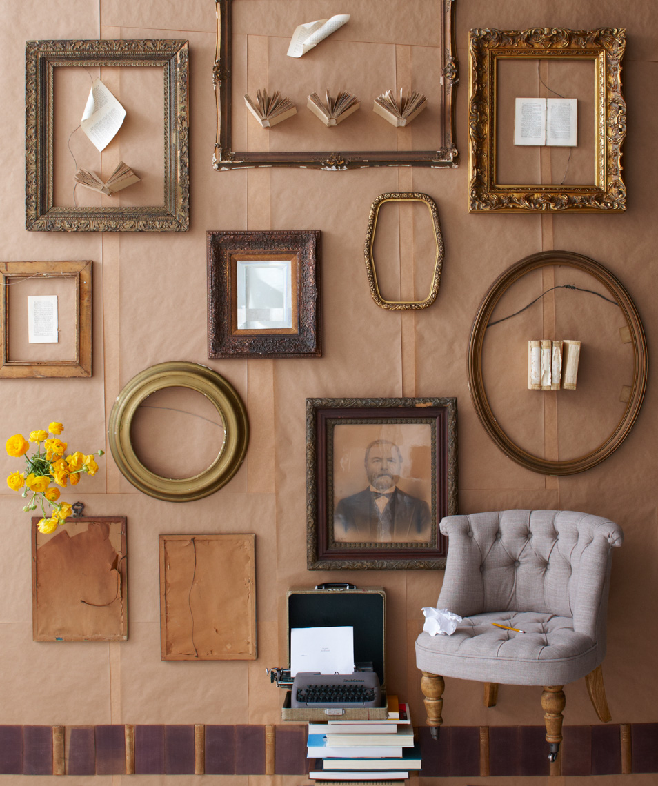 Picture frames on wall with chair hilip Harvey Photography, San Francisco, California, still life, interiors, food, lifestyle and product photography