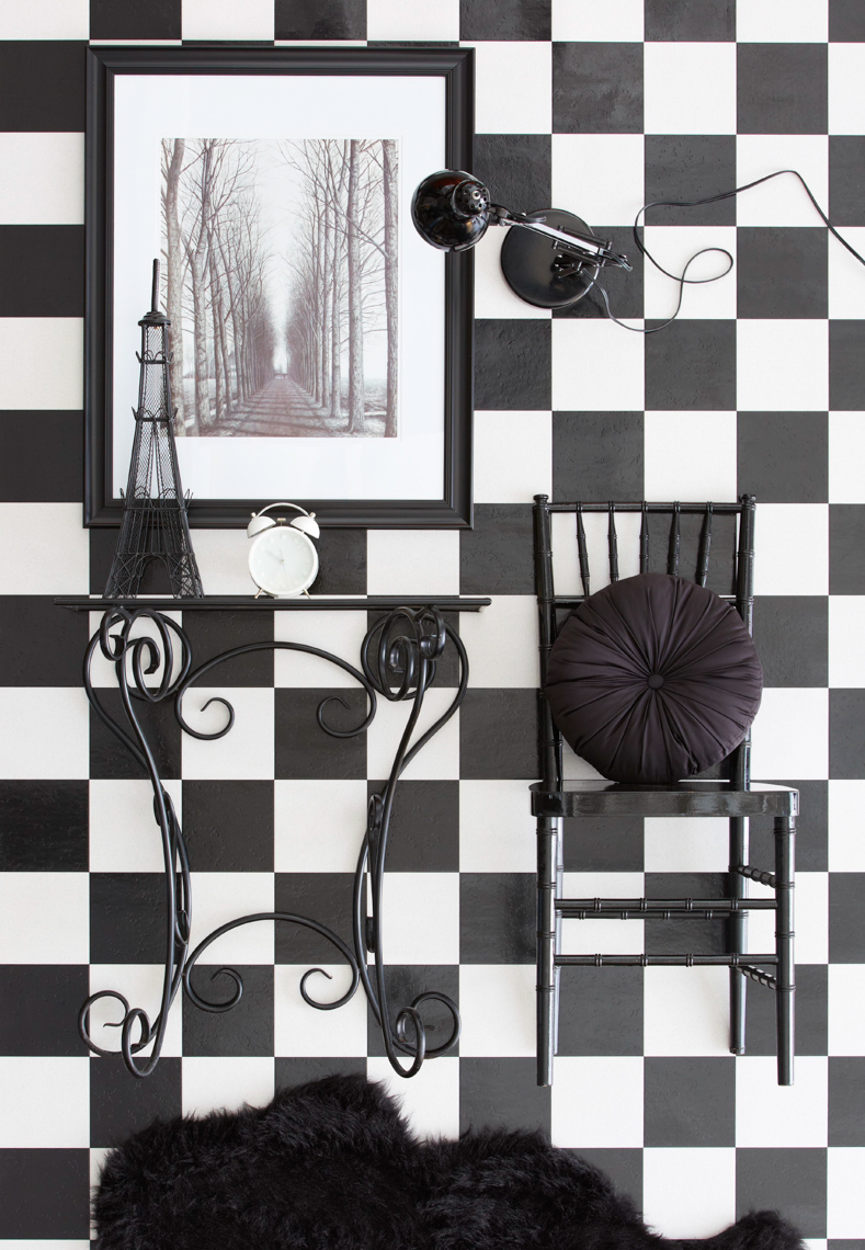 Table and chair on checker wall hilip Harvey Photography, San Francisco, California, still life, interiors, food, lifestyle and product photography