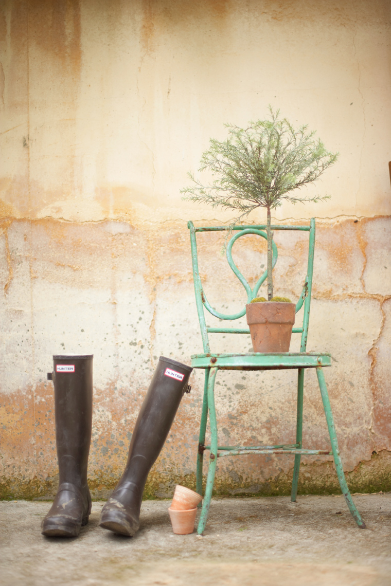 Green Wellington boots leaning again green cafe chair with topiary San Francisco product photographer