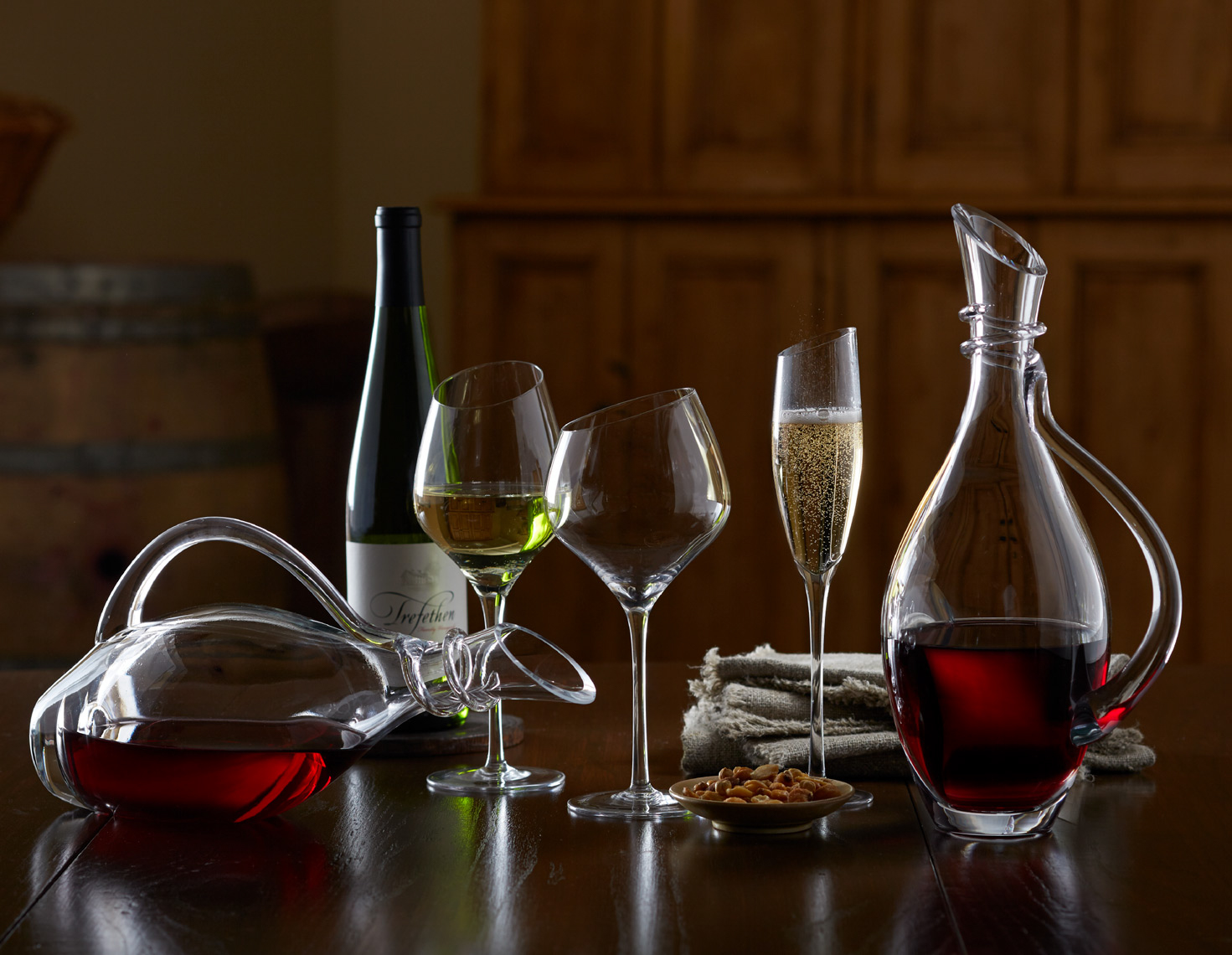 variety of glassware with red and white wine