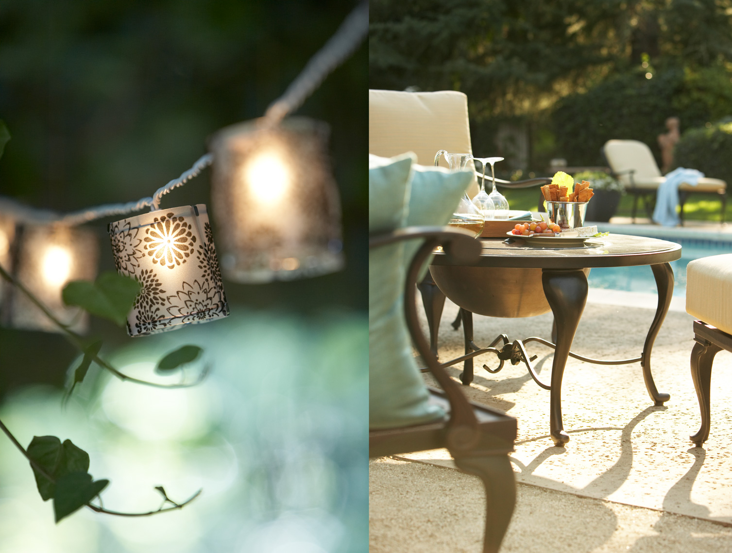 Light string and metal outdoor furniture near pool San Francisco product photographer
