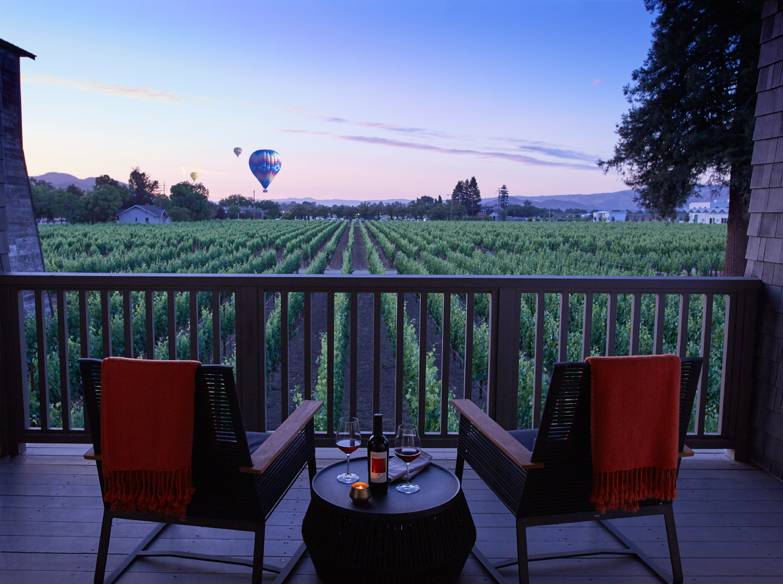 Morning hot air balloons lifting off over the vinyards shot for Senza Hotel and Spa in Napa California