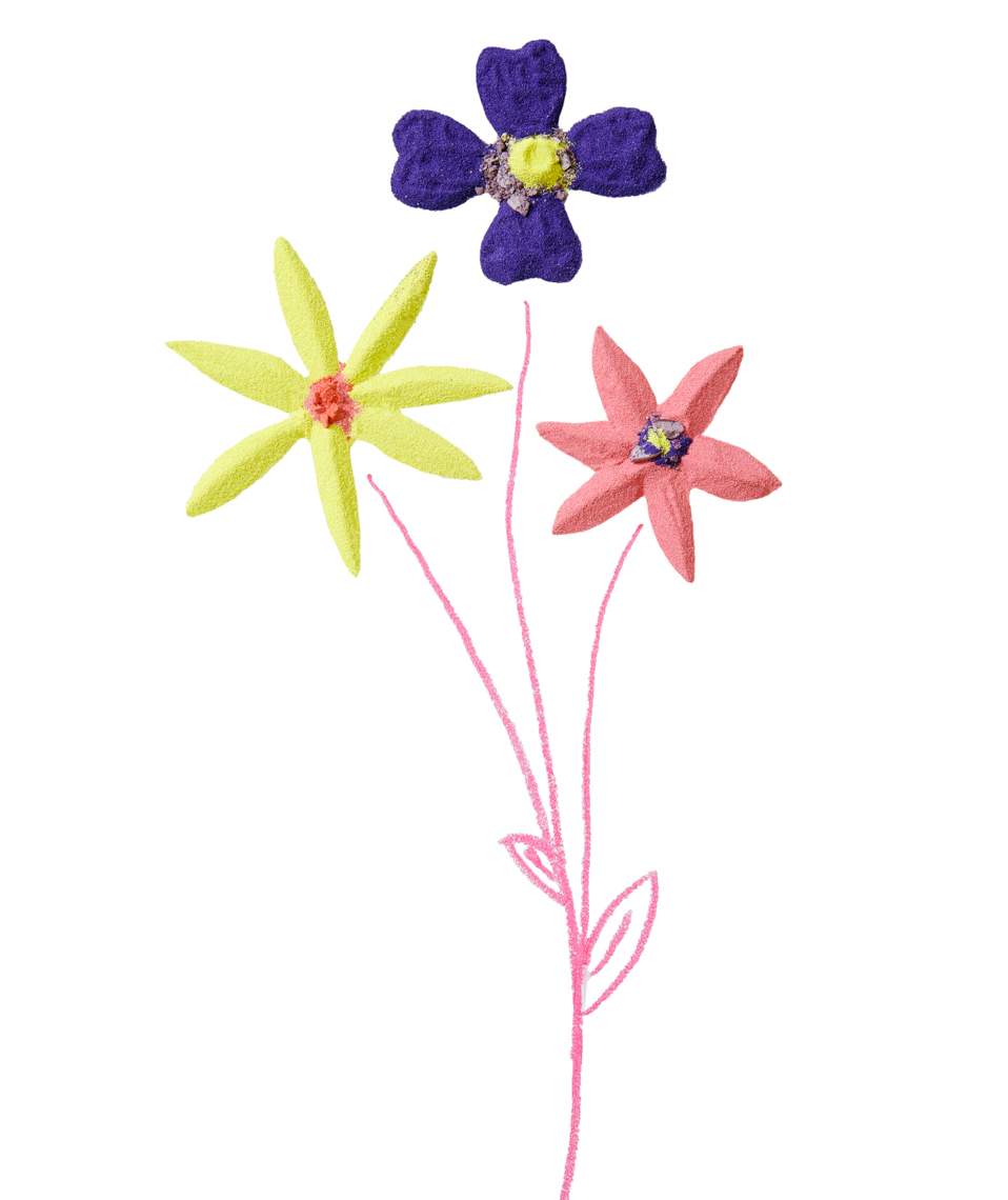 multi-stemmed flowers made out of colorful sand