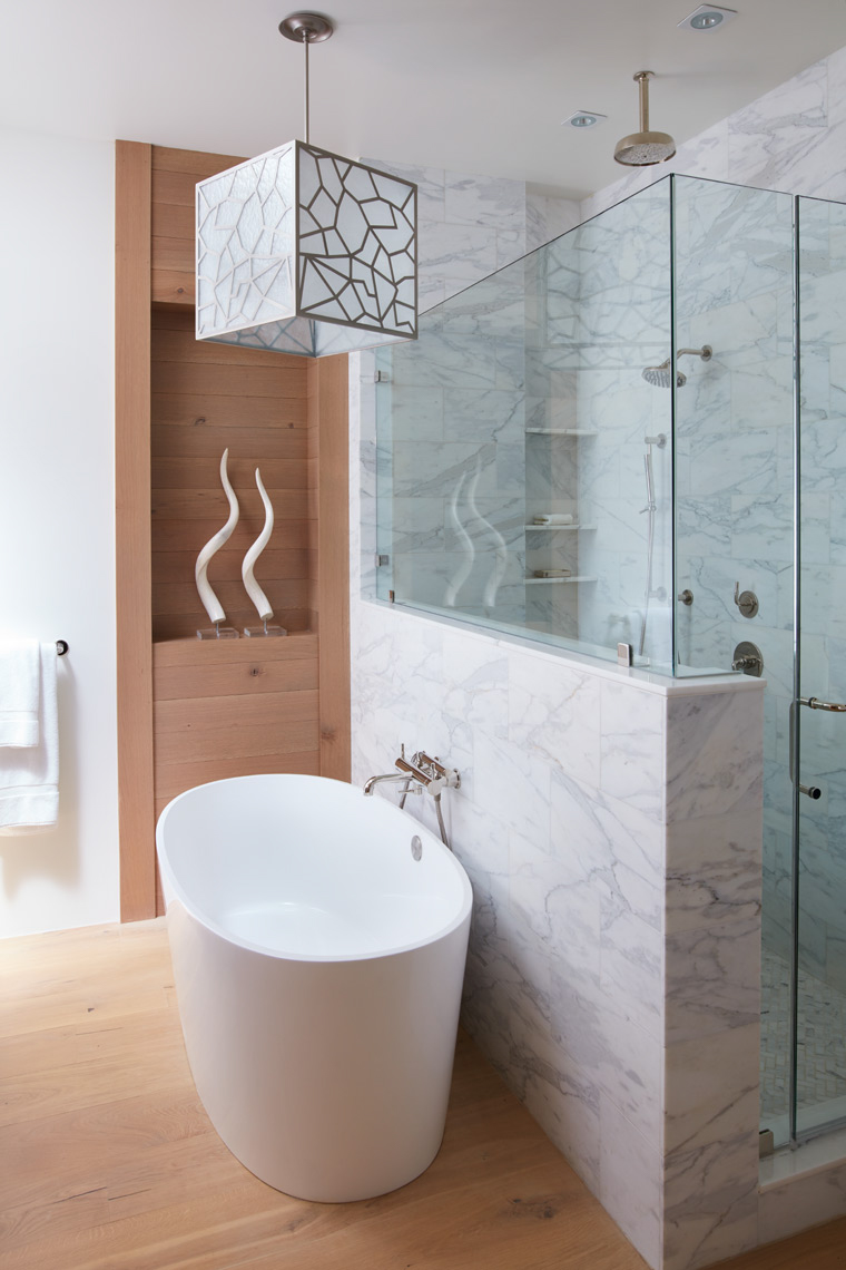 bathroom with marble wall shower and white bathtub San Francisco interior photographer
