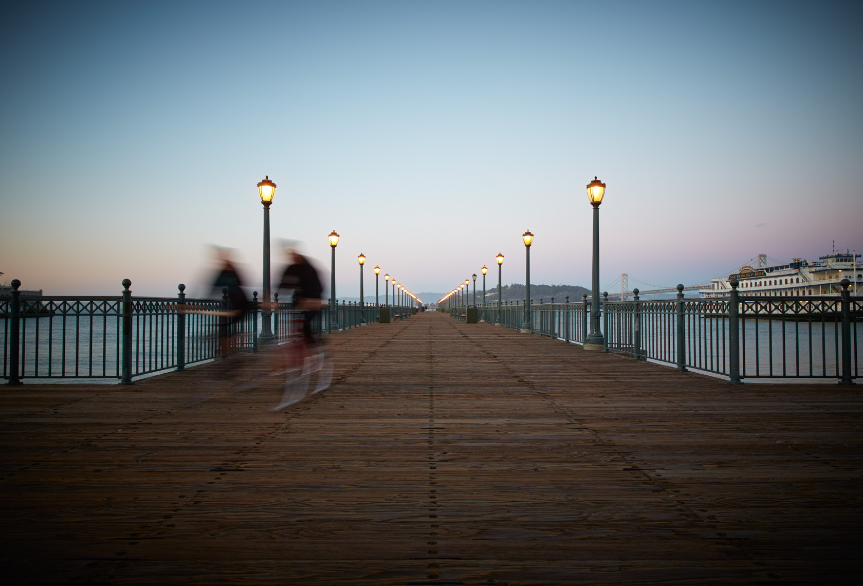 San Francisco ocean view boardwalk at dusk
