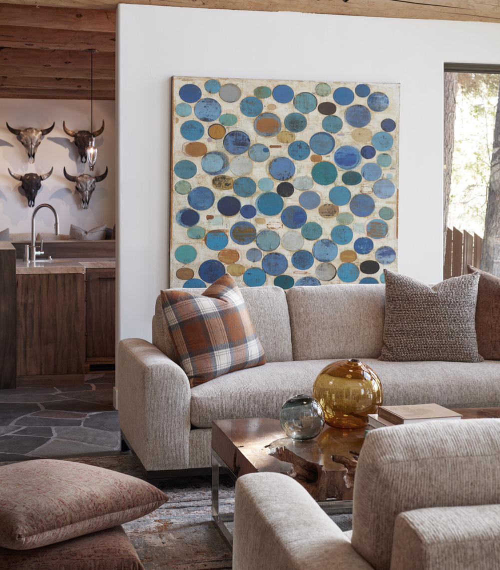living room with 2 taupe sofas and decorative plaid pillows San Francisco interior photographer
