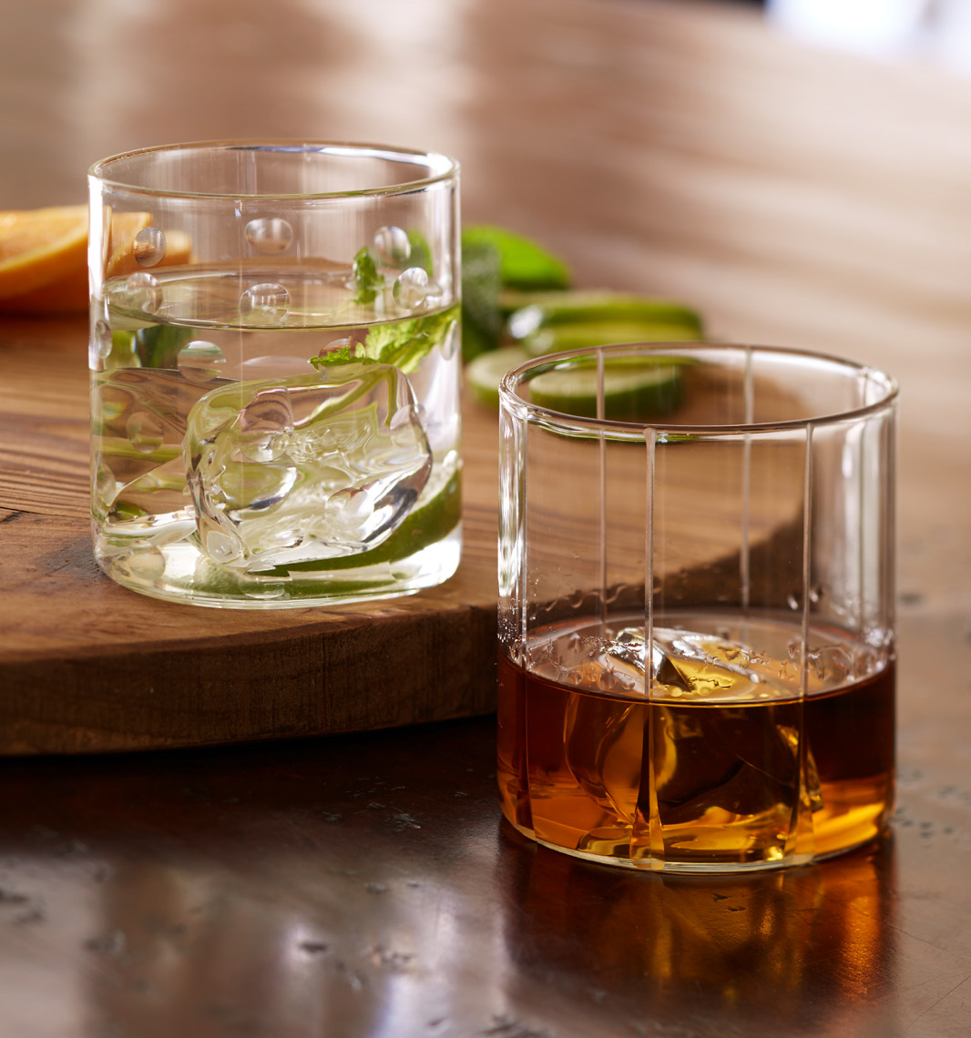 glass of vodka with mint leaves and glass of whiskey on the rocks San Francisco food photographer
