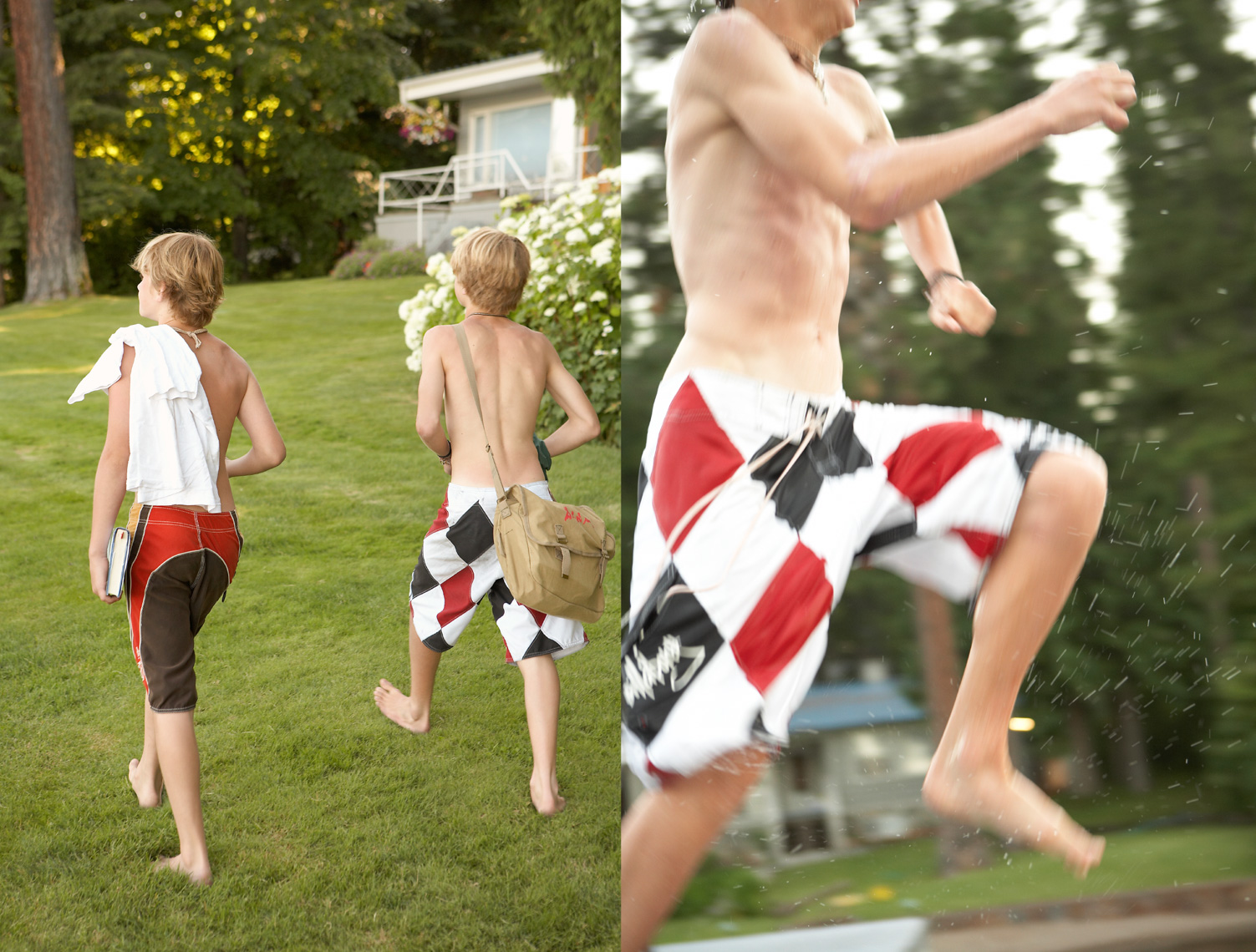 Three boys in red and white bathing suits running on a green lawn in the summer San Francisco lifestyle photographer