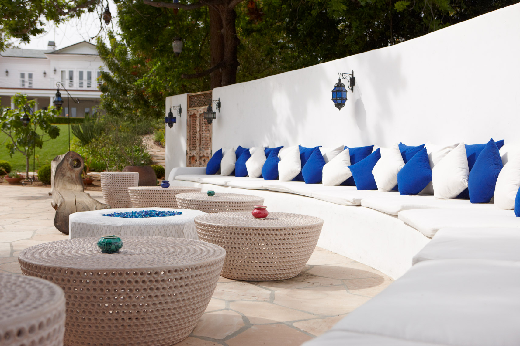 blue and white moroccan outdoor lounge seating